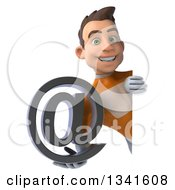 Clipart Of A 3d Young Brunette White Male Super Hero In An Orange Suit Holding An Email Arobase At Symbol Around A Sign Royalty Free Illustration