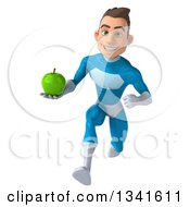Clipart Of A 3d Young White Male Super Hero In A Light Blue Suit Holding A Green Apple And Sprinting Royalty Free Illustration