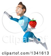 Clipart Of A 3d Young White Male Super Hero In A Light Blue Suit Holding A Strawberry And Flying Up To The Left Royalty Free Illustration