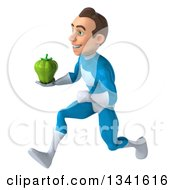 Clipart Of A 3d Young White Male Super Hero In A Light Blue Suit Holding A Green Bell Pepper And Sprinting To The Left Royalty Free Illustration