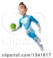 Clipart Of A 3d Young White Male Super Hero In A Light Blue Suit Holding A Green Bell Pepper And Flying Royalty Free Illustration