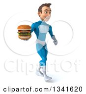 Clipart Of A 3d Young White Male Super Hero In A Light Blue Suit Holding A Double Cheeseburger And Walking Slightly To The Right Royalty Free Illustration