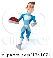 Clipart Of A 3d Young White Male Super Hero In A Light Blue Suit Holding A Beef Steak And Speed Walking Royalty Free Illustration
