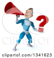 Clipart Of A 3d Young White Male Super Hero In A Light Blue Suit Holding A Question Mark And Announcing With A Megaphone Royalty Free Illustration