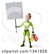 3d Young White Male Super Hero In A Green Suit Carrying Shopping Bags Holding And Looking Up At A Blank Sign