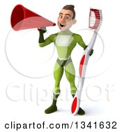 Clipart Of A 3d Young White Male Super Hero In A Green Suit Holding A Giant Toothbrush And Announcing With A Megaphone Royalty Free Illustration