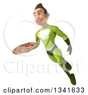 Clipart Of A 3d Young White Male Super Hero In A Green Suit Holding A Pizza And Flying Royalty Free Illustration