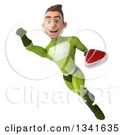 Clipart Of A 3d Young White Male Super Hero In A Green Suit Holding A Beef Steak And Flying Royalty Free Illustration