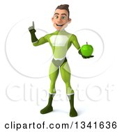 Clipart Of A 3d Young White Male Super Hero In A Green Suit Holding Up A Finger And An Apple Royalty Free Illustration