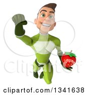 Clipart Of A 3d Young White Male Super Hero In A Green Suit Holding A Strawberry And Flying Royalty Free Illustration