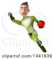 Clipart Of A 3d Young White Male Super Hero In A Green Suit Holding A Tomato And Flying Royalty Free Illustration