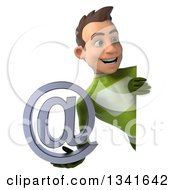 Clipart Of A 3d Young White Male Super Hero In A Green Suit Holding An Email Arobase At Symbol And Looking Around A Sign Royalty Free Illustration