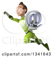 Clipart Of A 3d Young White Male Super Hero In A Green Suit Holding An Email Arobase At Symbol And Flying Up To The Left Royalty Free Illustration