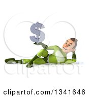Clipart Of A 3d Young White Male Super Hero In A Green Suit Holding A Dollar Currency Symbol And Resting On His Side Royalty Free Illustration