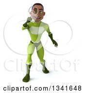 Clipart Of A 3d Young Black Male Super Hero In A Green Suit Searching With A Magnifying Glass Royalty Free Illustration