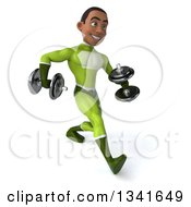 Clipart Of A 3d Young Black Male Super Hero In A Green Suit Speed Walking Slightly To The Right With Dumbbells Royalty Free Illustration