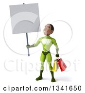 3d Young Black Male Super Hero In A Green Suit Carrying Shopping Bags Holding And Looking Up At A Blank Sign