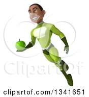 Clipart Of A 3d Young Black Male Super Hero In A Green Suit Holding An Apple And Flying Royalty Free Illustration