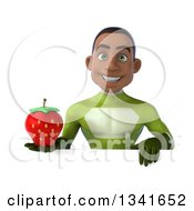 Clipart Of A 3d Young Black Male Super Hero In A Green Suit Holding A Strawberry Over A Sign Royalty Free Illustration