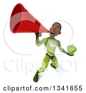 Clipart Of A 3d Young Black Male Super Hero In A Green Suit Holding A Green Bell Pepper And Announcing Upwards With A Megaphone Royalty Free Illustration