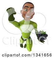 Clipart Of A 3d Young Black Male Super Hero In A Green Suit Holding A Blackberry And Flying Royalty Free Illustration