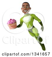 Clipart Of A 3d Young Black Male Super Hero In A Green Suit Holding A Pink Frosted Cupcake And Flying Royalty Free Illustration