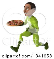 Clipart Of A 3d Young Black Male Super Hero In A Green Suit Holding A Pizza And Sprinting To The Left Royalty Free Illustration