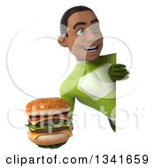 Clipart Of A 3d Young Black Male Super Hero In A Green Suit Holding A Double Cheeseburger And Looking Around A Sign Royalty Free Illustration