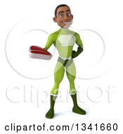 Clipart Of A 3d Young Black Male Super Hero In A Green Suit Holding A Beef Steak Royalty Free Illustration