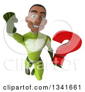Clipart Of A 3d Young Black Male Super Hero In A Green Suit Holding A Question Mark And Flying Royalty Free Illustration