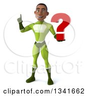 Clipart Of A 3d Young Black Male Super Hero In A Green Suit Holding Up A Finger And A Question Mark Royalty Free Illustration