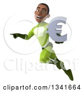Clipart Of A 3d Young Black Male Super Hero In A Green Suit Holding A Euro Currency Symbol Flying And Pointing Royalty Free Illustration by Julos
