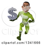 Clipart Of A 3d Young Black Male Super Hero In A Green Suit Holding A Dollar Currency Symbol And Sprinting Royalty Free Illustration by Julos