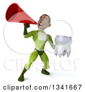 Clipart Of A 3d Young Black Male Super Hero In A Green Suit Holding A Tooth And Announcing With A Megaphone Royalty Free Illustration