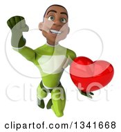 Clipart Of A 3d Young Black Male Super Hero In A Green Suit Holding A Red Love Heart And Flying Royalty Free Illustration by Julos