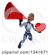 Clipart Of A 3d Young Black Male Super Hero Dark Blue Suit Holding A Red Love Heart And Announcing Upwards With A Megaphone Royalty Free Illustration