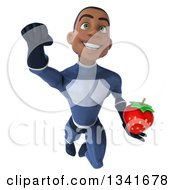 Clipart Of A 3d Young Black Male Super Hero Dark Blue Suit Holding A Strawberry And Flying Royalty Free Illustration