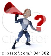Clipart Of A 3d Young Black Male Super Hero Dark Blue Suit Holding A Question Mark And Announcing With A Megaphone Royalty Free Illustration