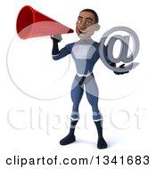 Clipart Of A 3d Young Black Male Super Hero Dark Blue Suit Holding An Email Arobase At Symbol And Announcing With A Megaphone Royalty Free Illustration