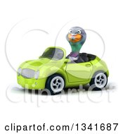 Clipart Of A 3d Pigeon Driving A Green Convertible Car Slightly To The Left Royalty Free Illustration