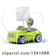 Clipart Of A 3d Pigeon Holding A Blank Sign And Driving A Green Convertible Car Slightly To The Left Royalty Free Illustration