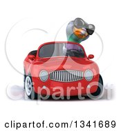 Clipart Of A 3d Pigeon Wearing Sunglasses Driving A Red Convertible Car And Turning Royalty Free Illustration