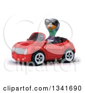 Clipart Of A 3d Pigeon Wearing Sunglasses And Driving A Red Convertible Car Slightly To The Left Royalty Free Illustration