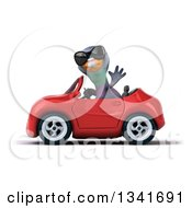Clipart Of A 3d Pigeon Wearing Sunglasses Waving And Driving A Red Convertible Car To The Left Royalty Free Illustration