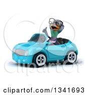 Clipart Of A 3d Bespectacled Pigeon Giving A Thumb Up And Driving A Blue Convertible Car Slightly To The Left Royalty Free Illustration