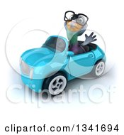 Clipart Of A 3d Bespectacled Pigeon Waving And Driving A Blue Convertible Car Slightly To The Left Royalty Free Illustration