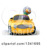 Clipart Of A 3d Pigeon Driving A Yellow Convertible Car And Turning Royalty Free Illustration