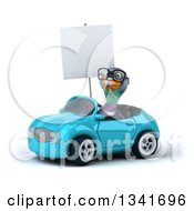 Clipart Of A 3d Bespectacled Pigeon Holding A Blank Sign And Driving A Blue Convertible Car Slightly To The Left Royalty Free Illustration