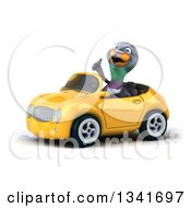 Clipart Of A 3d Pigeon Giving A Thumb Up And Driving A Yellow Convertible Car Slightly To The Left Royalty Free Illustration