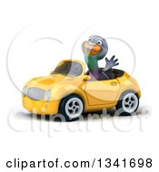 Clipart Of A 3d Pigeon Waving And Driving A Yellow Convertible Car Slightly To The Left Royalty Free Illustration